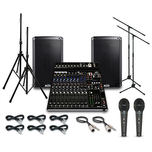 Alto Truesonic TS210 with Peavy PV14AT Mixer PA System-thumbnail