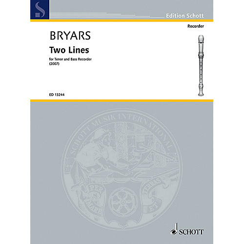 Schott Two Lines (Tenor and Bass Recorder) Schott Series by Gavin Bryars