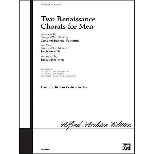 Alfred Two Renaissance Chorals (Adoramus Te / Ave Maria) TBB Choral Octavo