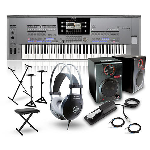 Yamaha Tyros5-76 with RPM3 Monitors, Headphones, Bench, Stand, and Sustain Pedal-thumbnail
