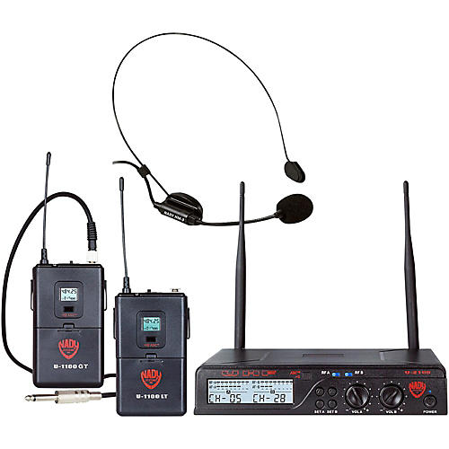 Nady U-2100 HM/GT - Dual 100 Channel Wireless Instrument and Headmic System-thumbnail