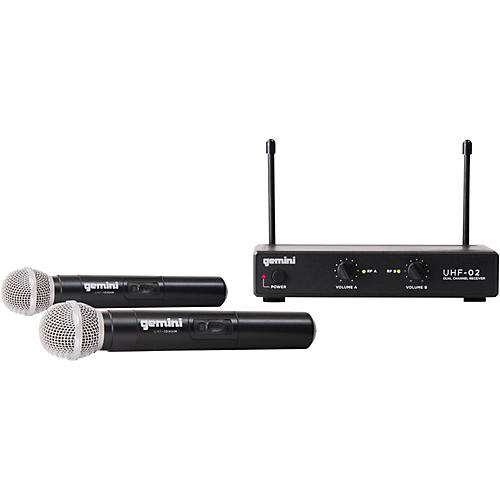 Gemini UHF-02M 2-Channel Wireless Handheld Microphone System-thumbnail