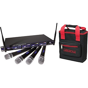 VocoPro UHF-5800 Plus 4-Mic Wireless System with Microphone Bag