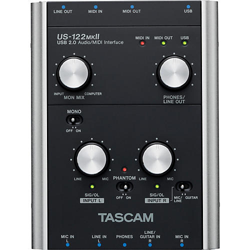 TASCAM US-122MKII USB 2.0 2-channel Audio/MIDI Interface