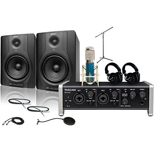 Tascam US-2x2 MXL 4000 and M Audio BX5 Recording Package 2-thumbnail