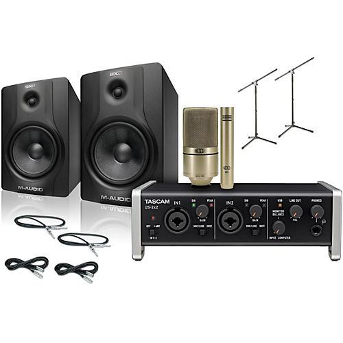 Tascam US-2x2 MXL 990/991 M-Audio BX8 Recording Package-thumbnail