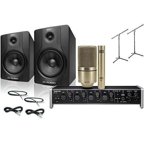 Tascam US-4x4 MXL 990/991 M-Audio BX8 Recording Package