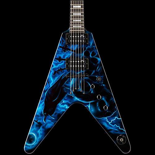 Dean USA Custom V Hand-Painted Graphic Electric Guitar Graveyard Raven Blue