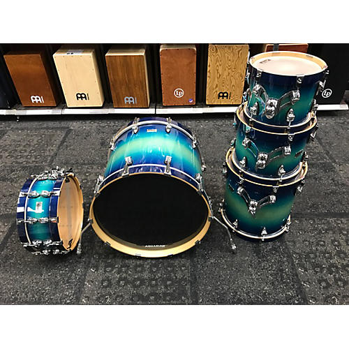 In Store Used Used Ayotte 5 piece Custom Two Way Blue Fade Drum Kit-thumbnail