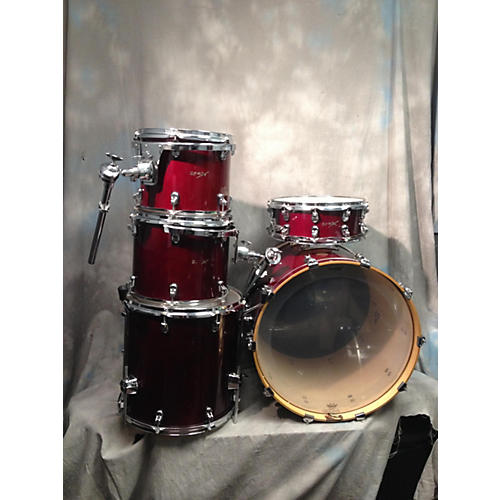 In Store Used Used BASIX 5 piece 5 PIECE DRUM KIT Wine Red Drum Kit
