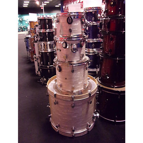 In Store Used Used DW PACIFIC 2000s 4 piece CX Pearl White Drum Kit-thumbnail