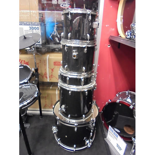 In Store Used Used Drum 5 piece Set Black Drum Kit-thumbnail