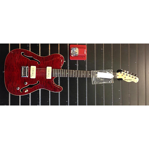 In Store Used Used Harley Benton Deluxe Series Thinline P90 Quilted Cherry Solid Body Electric Guitar