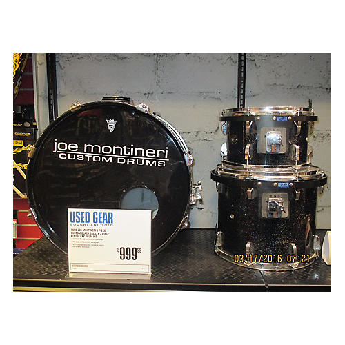 In Store Used Used Joe Montineri 3 Piece Custom Black Galaxy 3 Piece Kit Galaxy Drum Kit-thumbnail
