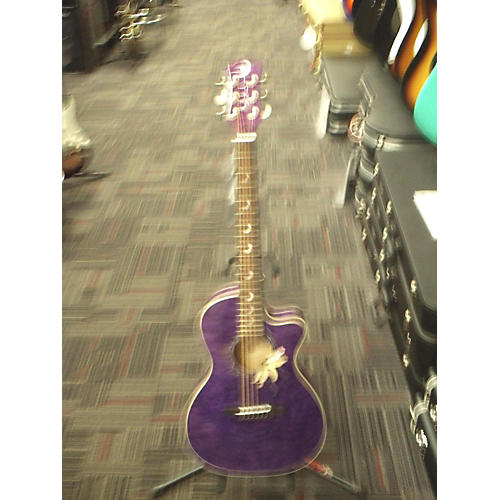 In Store Used Used LUNA 2010s FLORA PASSIONFLOWER Purple Acoustic Electric Guitar-thumbnail