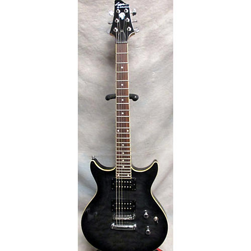 In Store Used Used LYON By Washburn Double Cut Trans Black Solid Body Electric Guitar-thumbnail