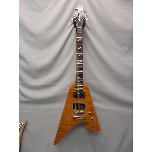 In Store Used Used Lyon By Washburn Modified V Trans Amber Solid Body Electric Guitar-thumbnail