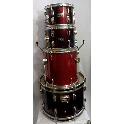 Used Maxwin Mismatched Kit 4 piece 4 Piece Drum Set Maroon