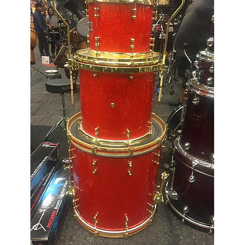 In Store Used Used Mullins Custom Drums 3 piece Custom Red Sparkle Drum Kit-thumbnail
