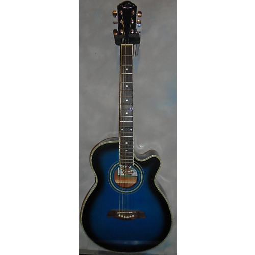 In Store Used Used Oscar Schmidt Washburn Og10ceftbl Blue Acoustic Guitar-thumbnail