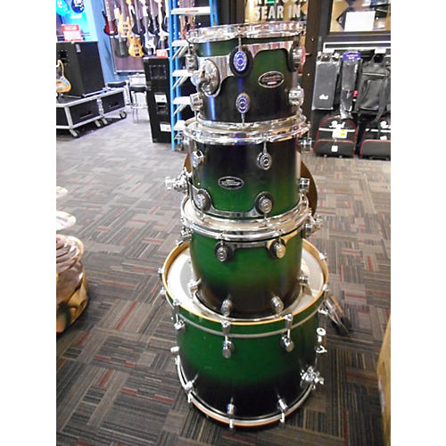 In Store Used Used PDP 4 piece MX SERIES SHELL PACK GREEN BURST Drum Kit