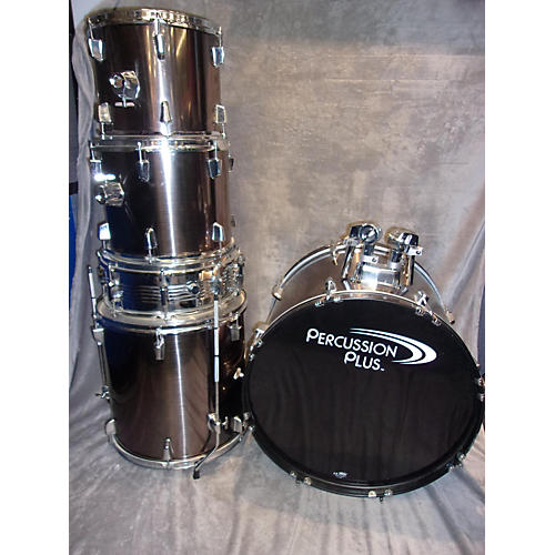 In Store Used Used PERCUSSION PLUS 5 piece 5 PIECE SET BRUSHED SILVER Drum Kit-thumbnail