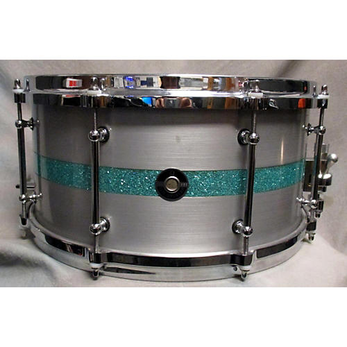 In Store Used Used Q Drum Co 7X14 Aluminium Plate Snare W/ Inlay Teal Pearloid Drum