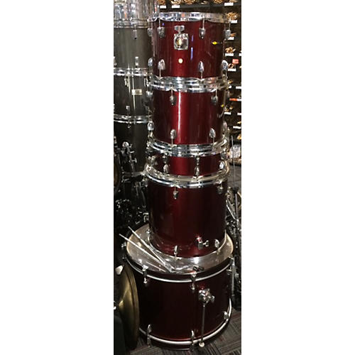 In Store Used Used SOUND PERCUSSION 5 piece BASIC DRUMSET Wine Red Drum Kit-thumbnail