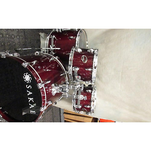In Store Used Used Sakae 4 piece Almighty Birch Crimson Red Trans Drum Kit