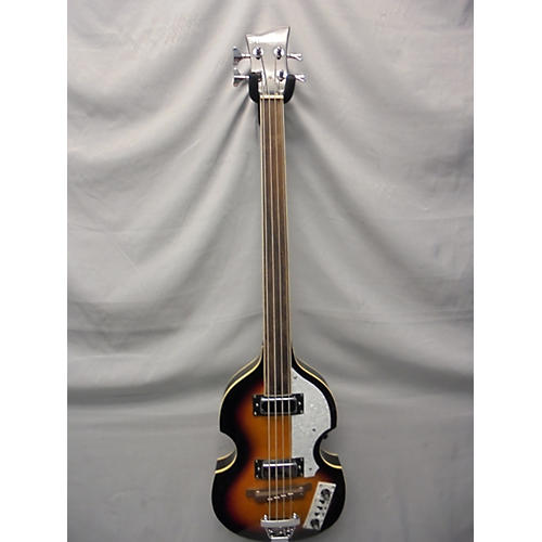 In Store Used Used Starfire Hof Style Fretless 3 Tone Sunburst Electric Bass Guitar-thumbnail