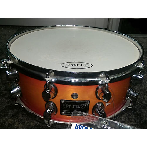 In Store Used Used TJW 6.5X14 TRIPLE FLANGED SNARE Cherry Sunburst Drum