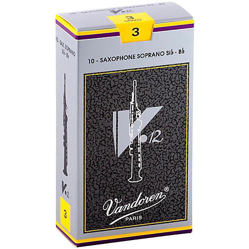 Vandoren V12 Series Soprano Saxophone Reeds Strength 3, Box of 10