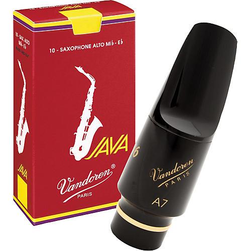 Vandoren V16 Hard Rubber Alto Saxophone Mouthpiece with Half-Off Java Red Reeds-thumbnail