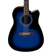 V70FMCE Dreadnought Cutaway Acoustic-Electric Guitar Transparent Blue Sunburst