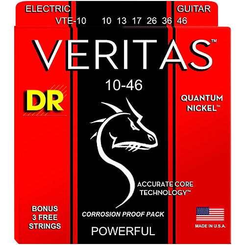 DR Strings VERITAS - Accurate Core Technology Medium Electric Guitar Strings (10-46)-thumbnail