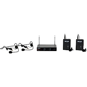 Gemini VHF-02HL Dual Channel VHF Lavalier Wireless Headset System by Gemini