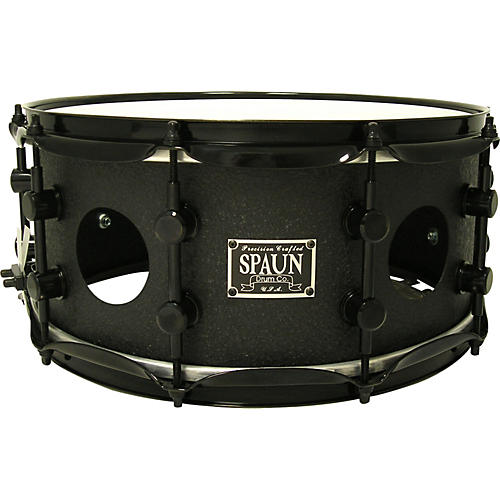 Spaun Vented Steel Snare Black Wrinkle 14 x 6.5