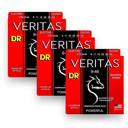 DR Strings Veritas - Accurate Core Technology Light and Heavy Electric Guitar Strings (9-46) 3-PACK