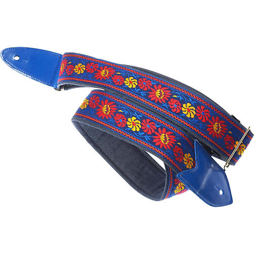 Jodi Head Verna Denim Slider Guitar Strap Blue Floral 2 in.