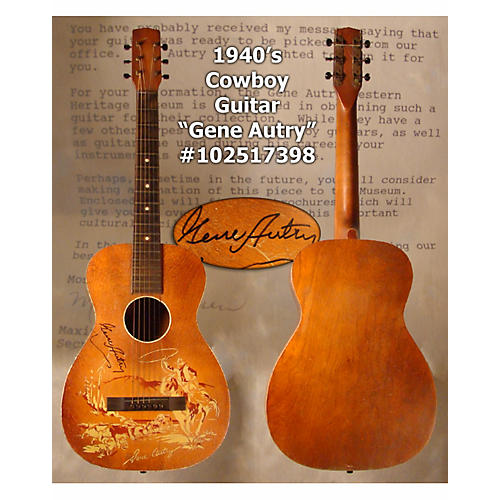 In Store Vintage  Vintage 1940sStencil Gene Autry Signed Natural Acoustic Guitar-thumbnail