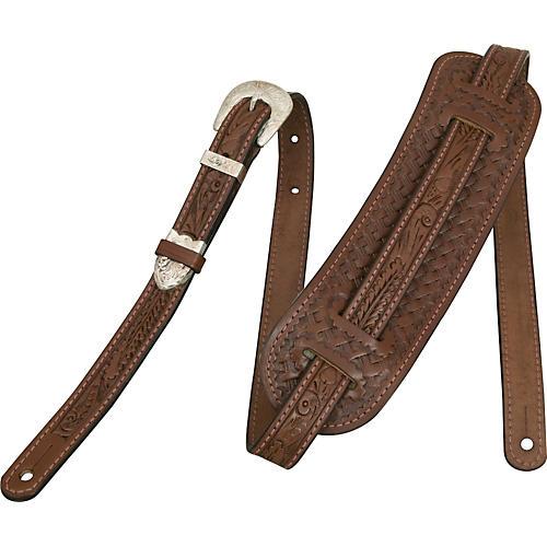 El Dorado Vintage Hand-Tooled Leather Guitar Strap Brown