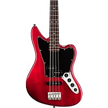 Vintage Modified Jaguar Electric Bass Guitar Special Transparent Crimson Red