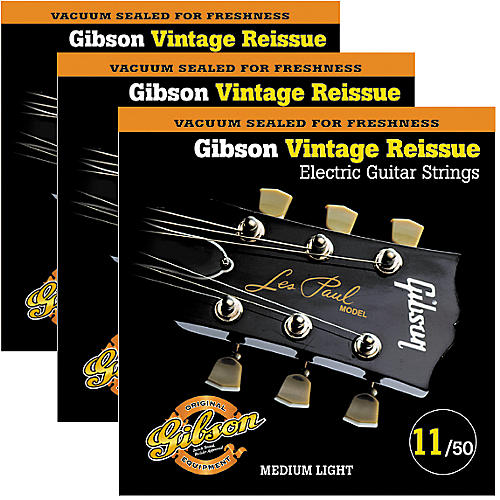 Gibson Vintage Reissue 3-Pack VR11 Electric Guitar Strings-thumbnail