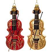 Kurt S. Adler Violin Glass Ornament 2/Assorted