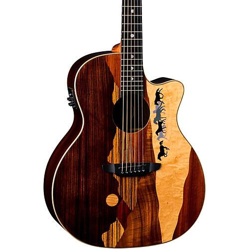 Luna Guitars Vista Mustang Tropical Wood RSW Back Acoustic-Electric Guitar