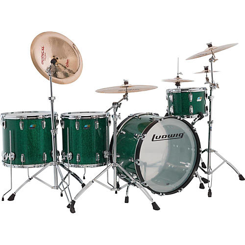 Ludwig Vistalite 45th Anniversary Shell Pack -Green Sparkle-thumbnail