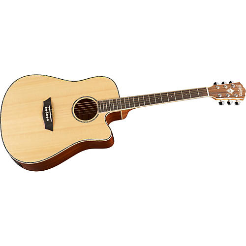 Washburn WD15SCE Solid Sitka Spruce Top Acoustic Cutaway Electric Dreadnought Mahogany Guitar with Fishman Preamp And Tuner-thumbnail