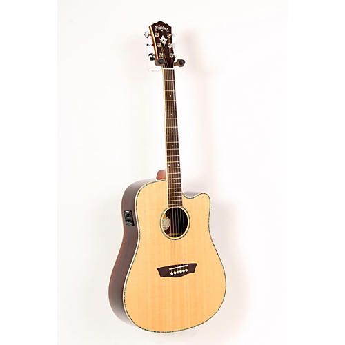 Washburn WD25SCE Solid Sitka Spruce Top Acoustic Cutaway Electric Dreadnought Rosewood Guitar with Fishman Preamp And Tuner Natural 888365407715