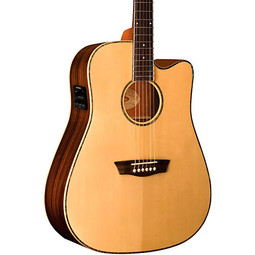 Washburn WD25SCE Solid Sitka Spruce Top Acoustic Cutaway Electric Dreadnought Rosewood Guitar with Fishman Preamp And Tuner