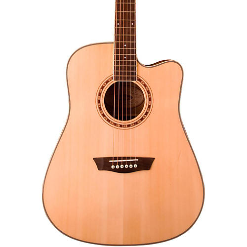 Washburn WD30SCE Solid Sitka Spruce Top Cutaway Acoustic-Electric Dreadnought Guitar Natural